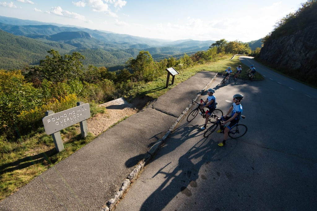 Brevard College cycling team on the blue ridge parkway