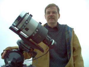 Mike Castalez with telescope