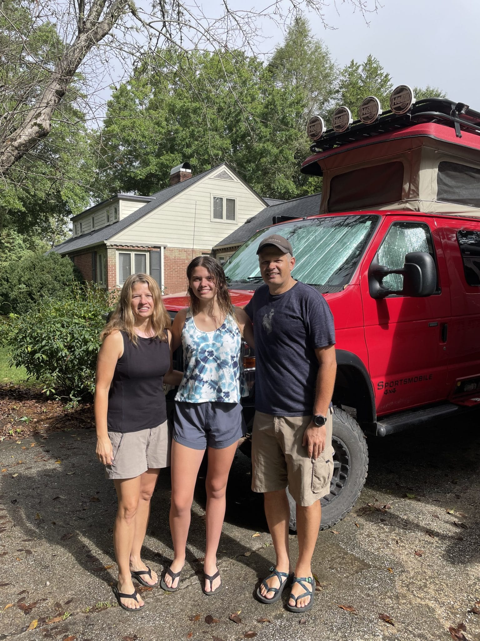 Jennings family in front of camping van