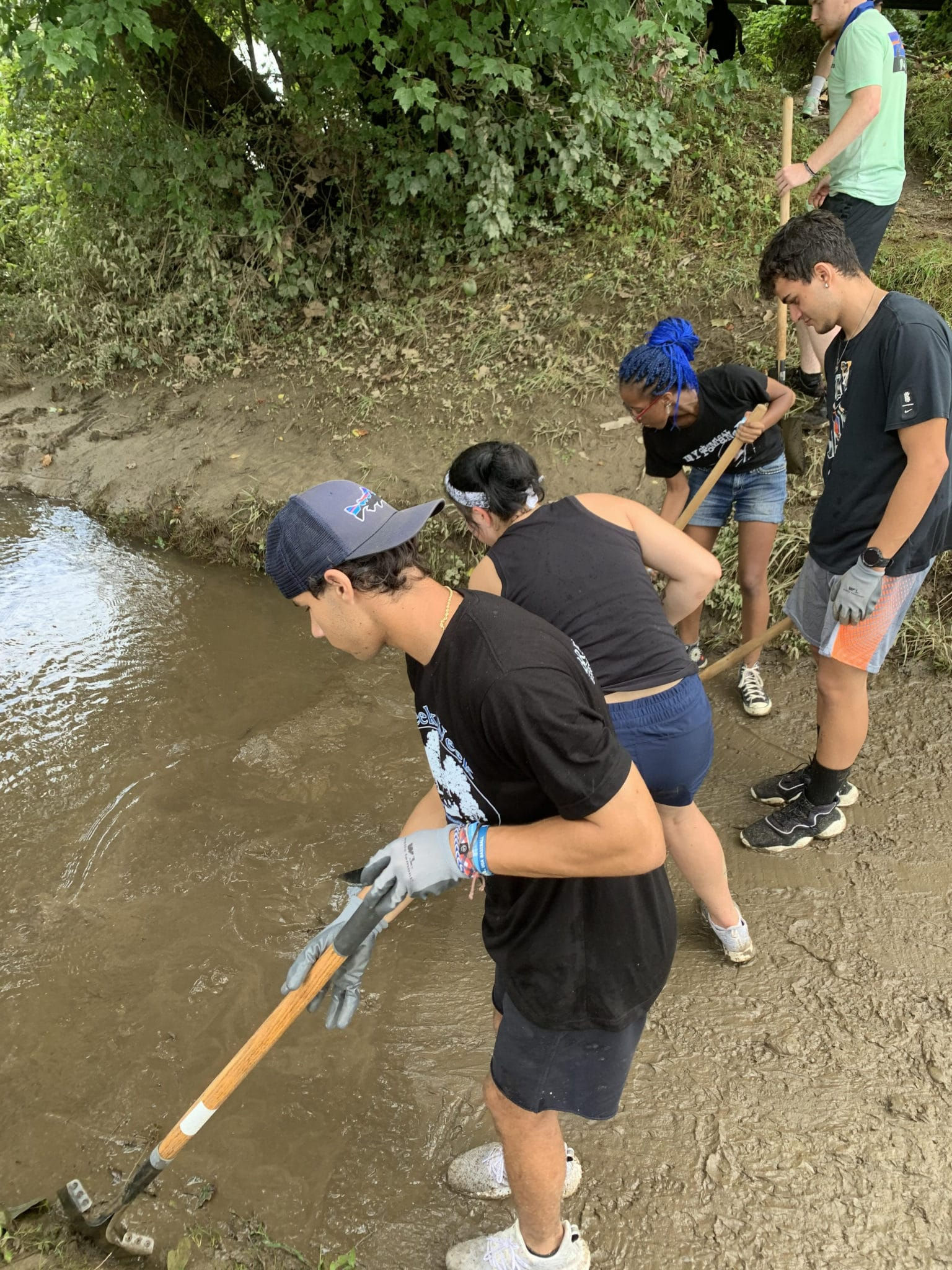 Students clean up river